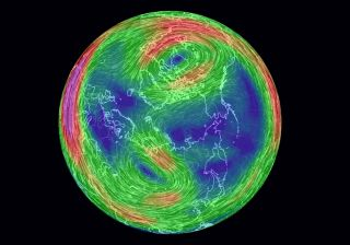 A simulated image of the stratospheric winds over the North Pole Jan. 18, 2019, showing how the northern polar vortex has split into two major parts – one over Canada and one over Russia.