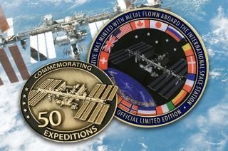 """Winco's International Space Station """"50 Expeditions"""" medallion and lapel pin"""