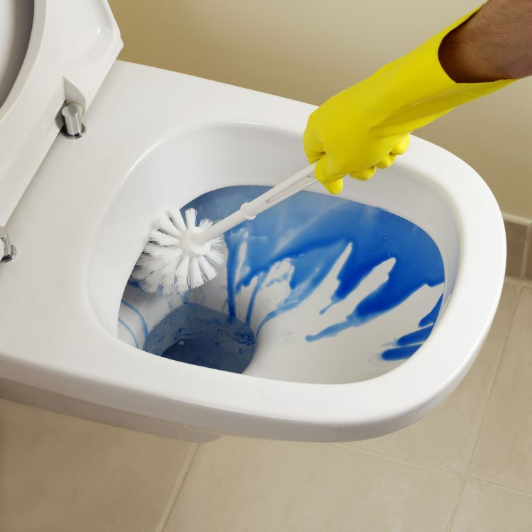 Unblock a toilet: cleaning a toilet with blue toilet cleaner and a toilet brush while wearing rubber gloves