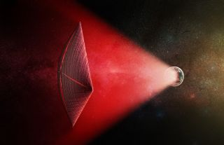 Artist's illustration of a light sail powered by a radio beam (red) generated on the surface of a planet. The leakage from such beams as they sweep across the sky would appear as superbright light flashes known as fast radio bursts, according to a new stu
