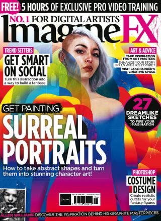 IFX 161 cover of a woman with half a buzz cut on a colourful, swirling background