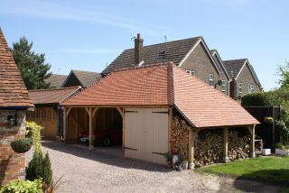 oak frame garages with car port and lo store