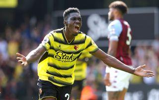 Watford winger Ismaila Sarr celebrates scoring a goal