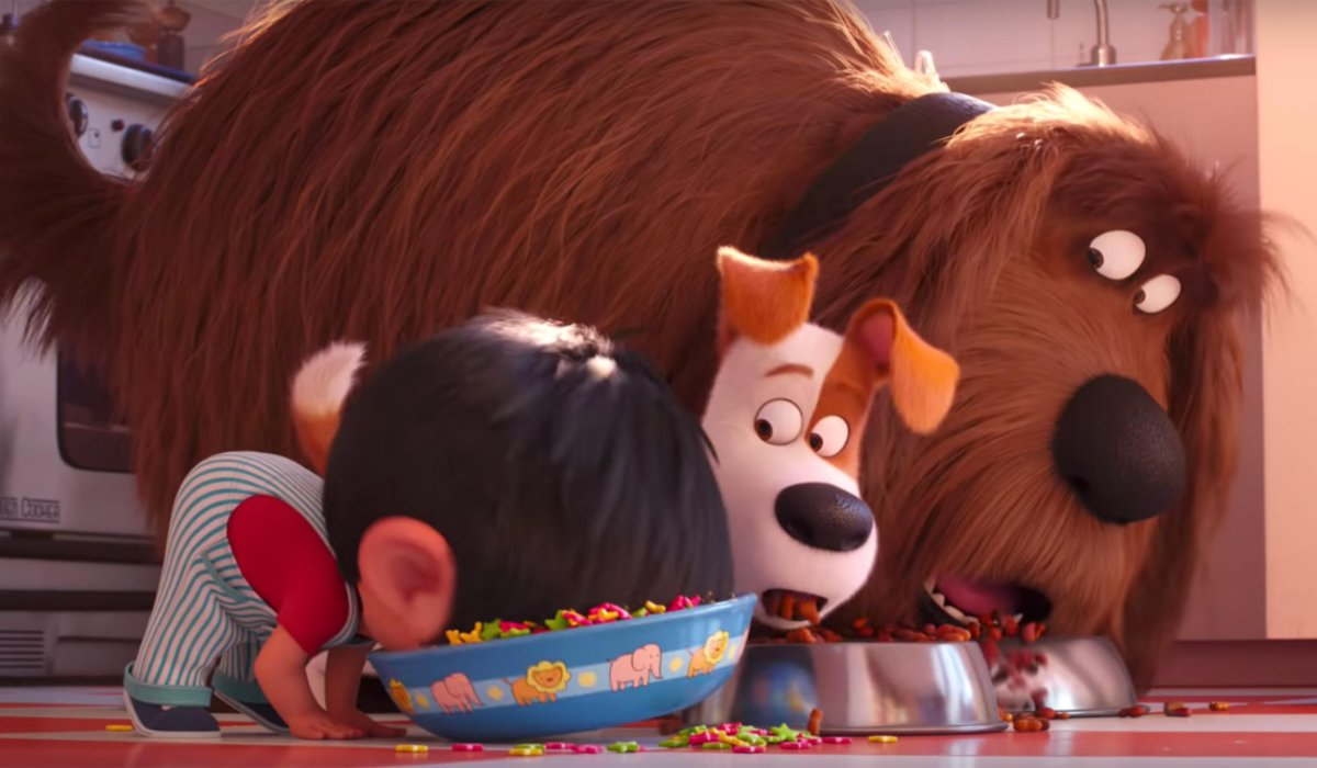 The Secret Life of Pets 2 Max and Duke watch Liam eat like a dog