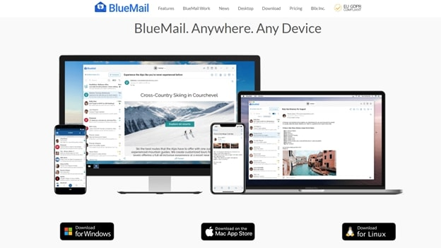 BlueMail's homepage