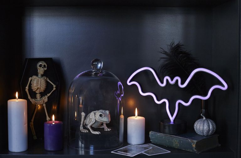 Asda halloween decorations candles and glow in the dark bat