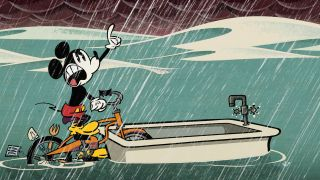 Mickey Mouse during a storm