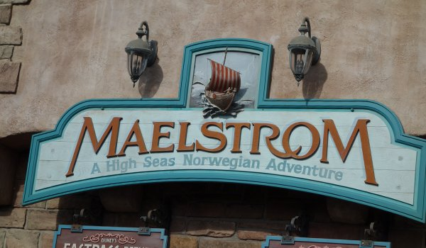 The Maelstrom sign at EPCOT's Norway pavilion