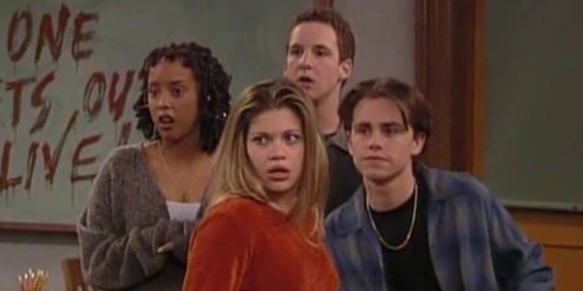 Trina McGee, Danielle Fishel, Ben Savage, and Rider Strong on Boy Meets World