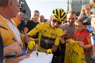 2019 Tour de France winner Egan Bernal (Team Ineos) signs autographs for fans at the 2019 Natourcriterium Aalst post-Tour criterium