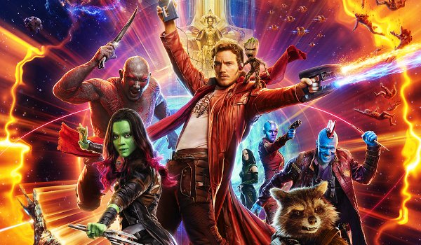 Guardians of the Galaxy Vol 2 Dave Bautista Zoe Saldana Chris Pratt making a poster pose in space
