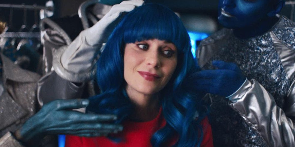 """Zooey Deschanel in Katy Perry's """"Not the End of the World"""" music video"""