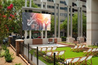 Market on Main in Columbia, SC features nearly 24-foot-long, 8-foot-high Planar VVR Series LED video wall with a 3.9 millimeter pixel pitch, supporting a wide range of events and providing a dynamic viewing experience for visitors.
