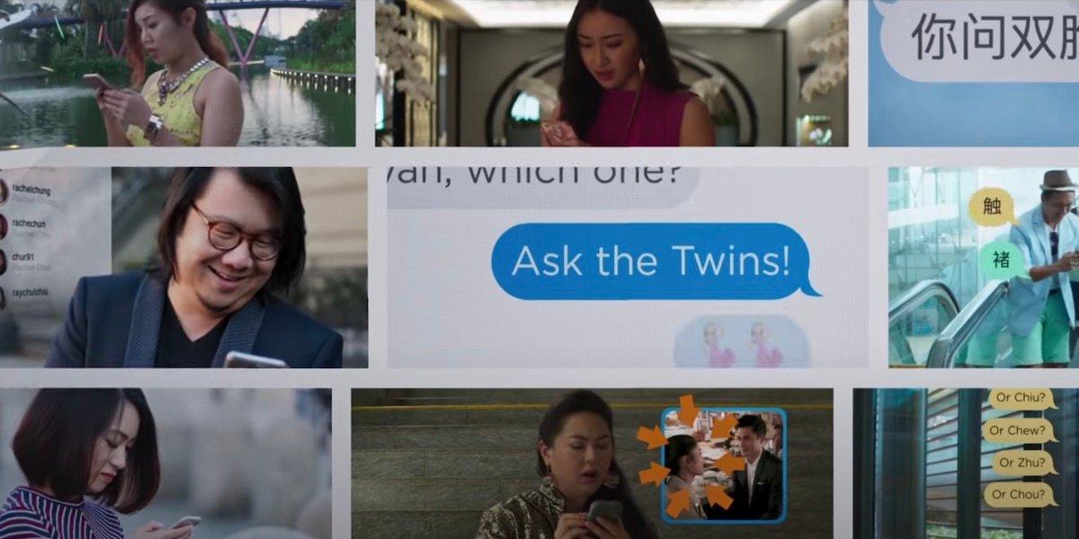 crazy rich asians text messaging scene
