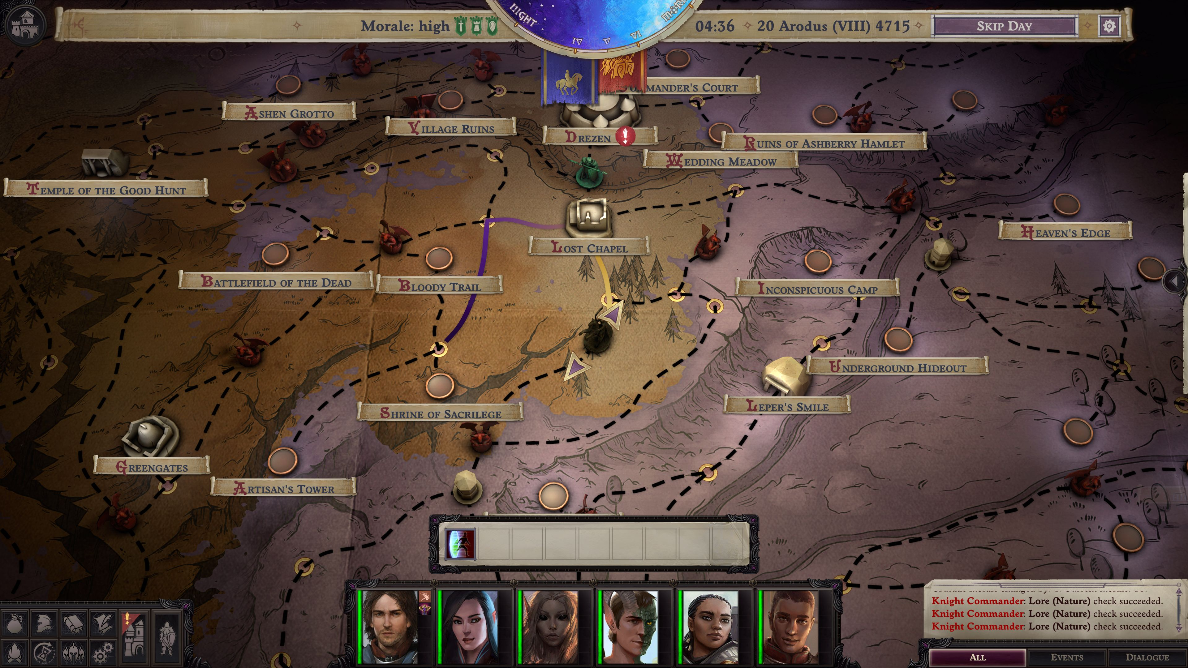 A party crosses the overland map of the Worldwound
