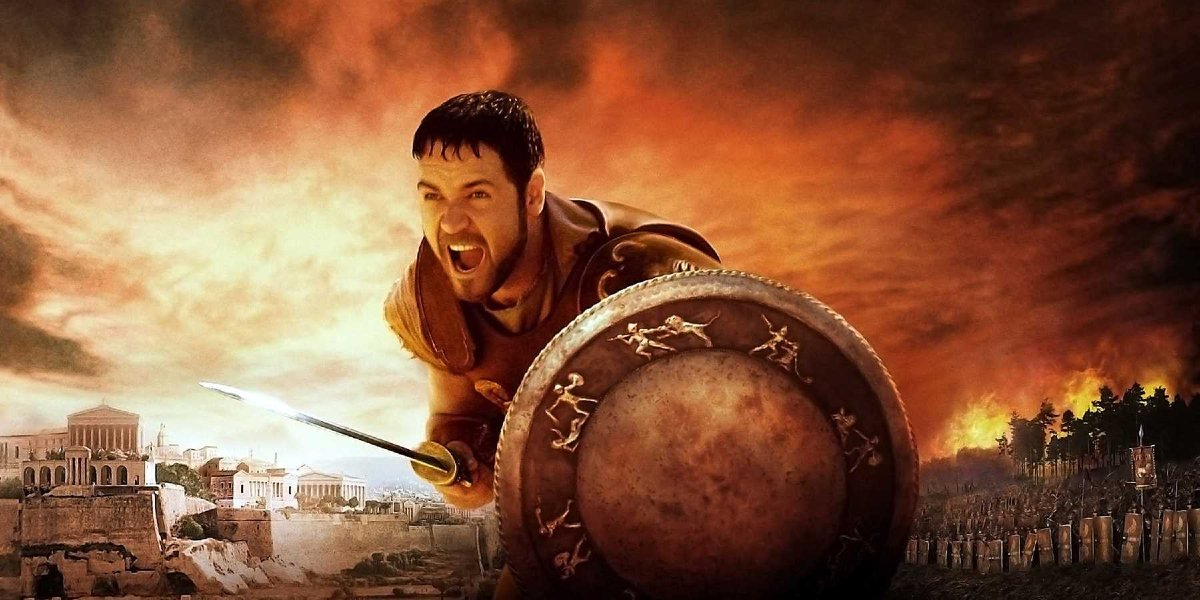Gladiator Russell Crowe prepared with sword and shield