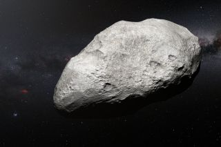 "This asteroid 2004 EW95 (shown in this artist's impression) have have been kicked out into the Kuiper Belt by ""drunken"" gas giants in the early days of our solar system."