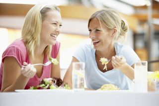 women, dining, friends, eating, food