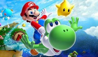 Mario and Yoshi soar through the galaxy