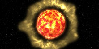 An artist's impression of the dust surrounding a red giant star.