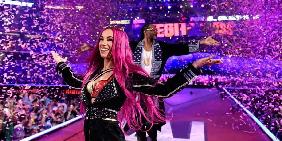 Sasha Banks and Snoop Dogg at WrestleMania 32