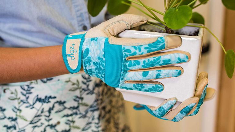 hands in brightly coloured best gardening gloves pruning a climbing plant