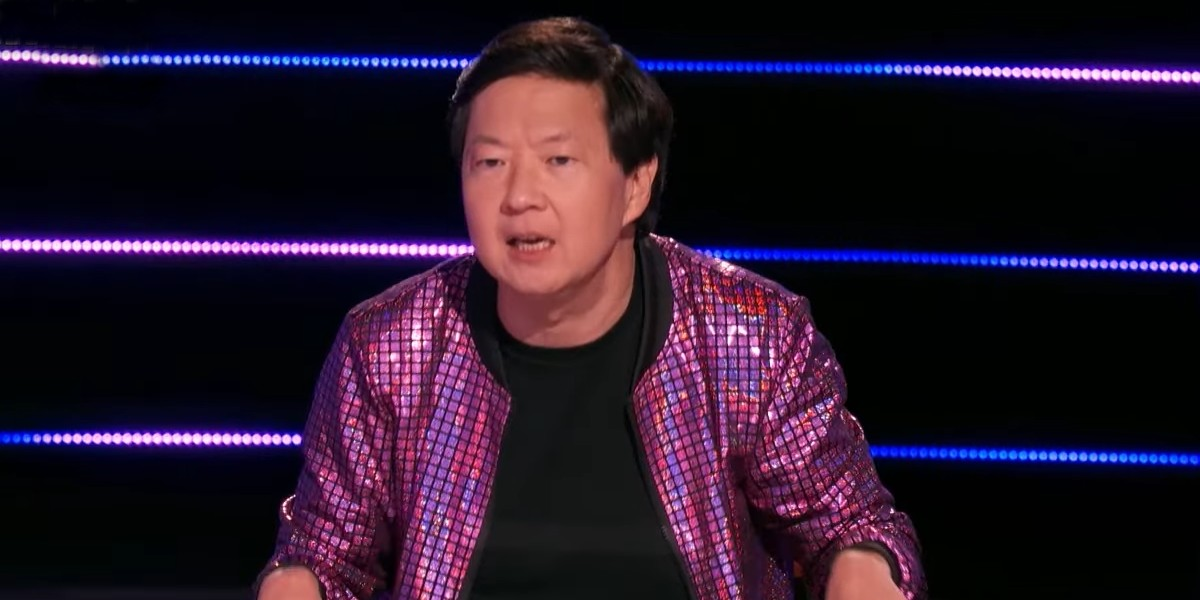 Ken Jeong making one of his madcap guesses when trying to figure out the Yeti's identity on The Masked Singer