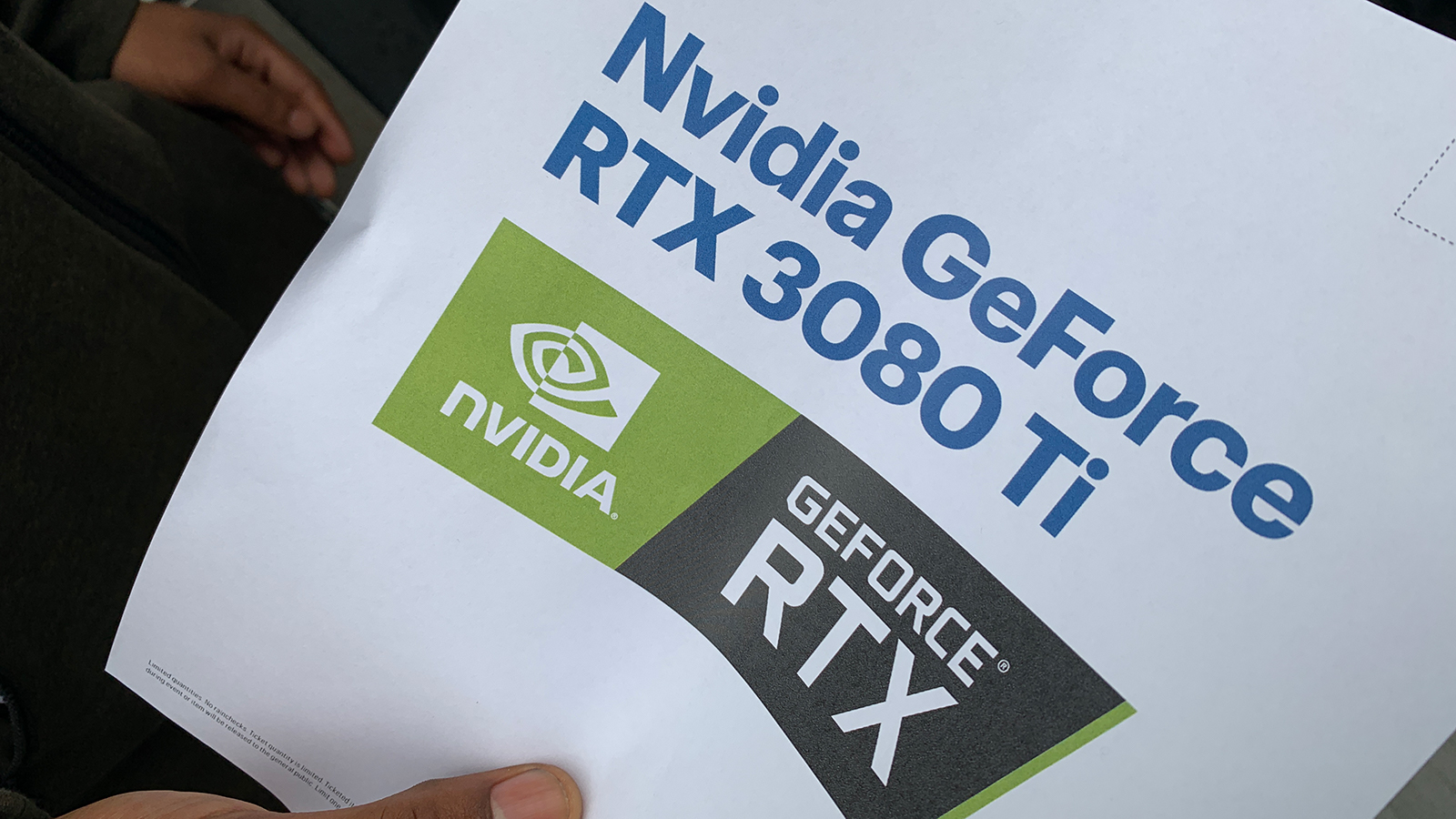 A Flyer With The Nvidia RTX 3080 Ti Logo That Was Passed Out To Customers Waiting In Line