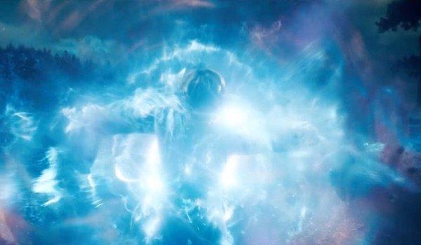 Carol Danvers being hit by energy explosion in Captain Marvel