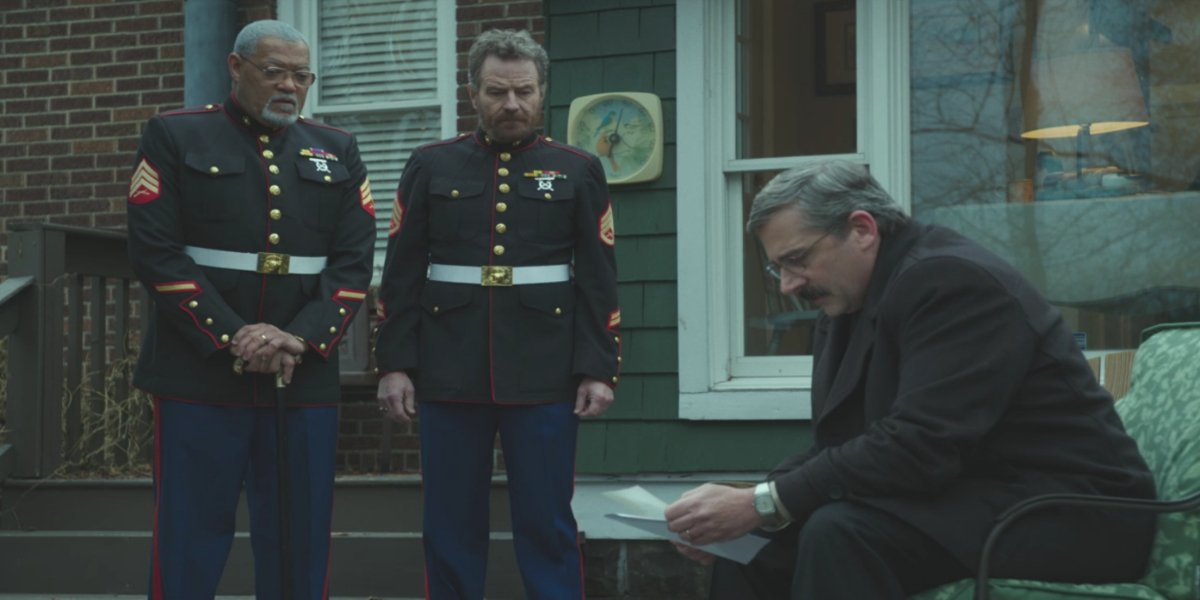 Laurence Fishburne, Bryan Cranston, and Steve Carell in Last Flag Flying