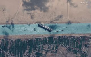 A satellite image showing the Ever Given in the Suez Canal on March 29, 2021, as the boat became free.