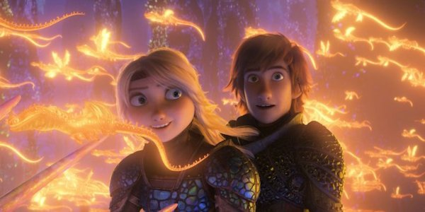 America Ferrera and Jay Baruchel as Astrid and Hiccup in How To Train Your Dragon: The Hidden World