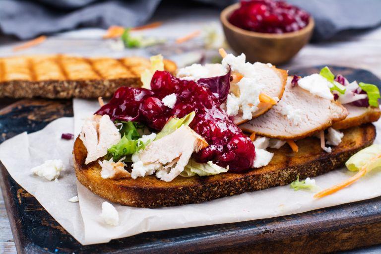 Christmas turkey sandwich with cranberry sauce