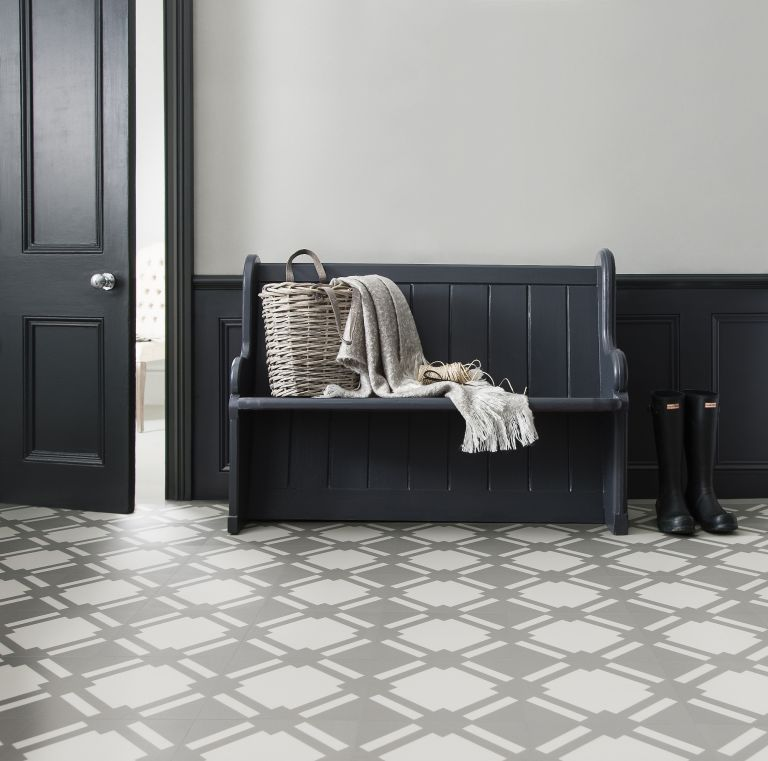 bootroom with contemporary patterned tiles by harvey maria