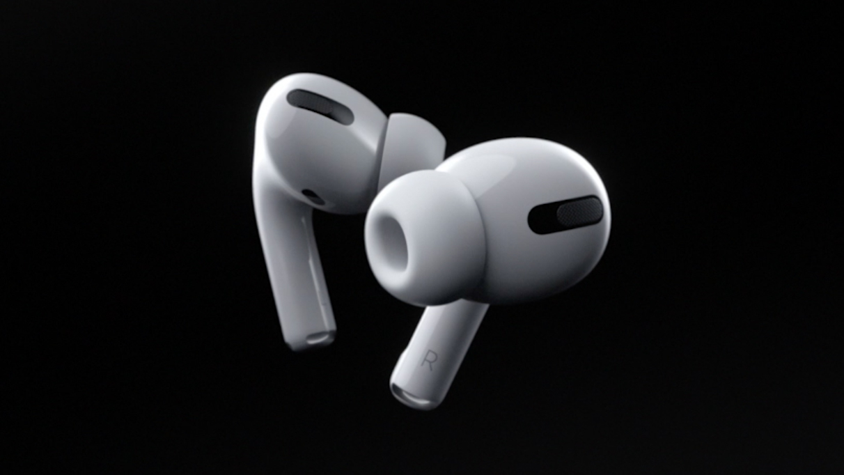 Airpods Pro against a black background