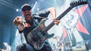 Tom Morello of Rage Against The Machine performs as part of Prophets Of Rage on stage at O2 Shepherd's Bush Empire on August 12, 2019 in London, England.