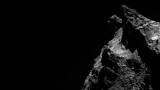 A cat-looking view of Comet 67P from the Rosetta mission.