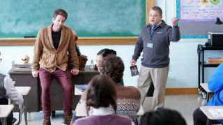 Glenn Howerton (left) as Jack and Patton Oswalt as Principal Durbin in Peacock's 'A.O. Bio'