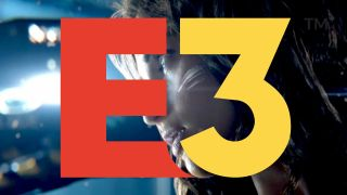 An illustration superimposing the E3 logo over the killer android's face from the Cyberpunk 2077 trailer.
