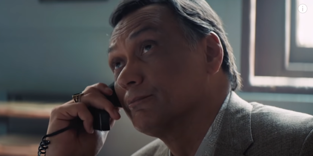 """Jimmy Smits as Mr. Rosario on hold to """"You'll Be Back"""""""