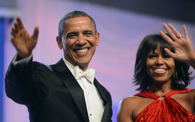 U.S. President Barack Obama and first lady Michelle Obama arrive together for The Inaugural Ball
