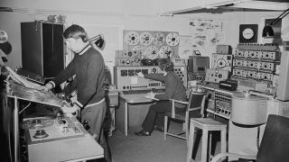 A photograph of The BBC Radiophonic Workshop at the BBC's Maida Vale Studios, London.