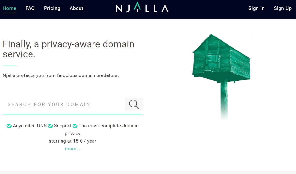 Njalla's homepage