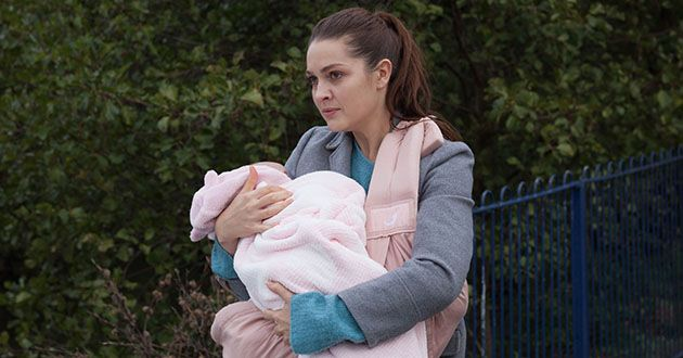 Sienna Blake tries to run away from Joel Dexter and Maggie Kinsella in Hollyoaks.