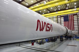 The SpaceX Falcon 9 rocket that will launch the Crew Dragon spacecraft, with NASA astronauts aboard, on Demo-2, the company's second demonstration flight and first crewed flight to the International Space Station.