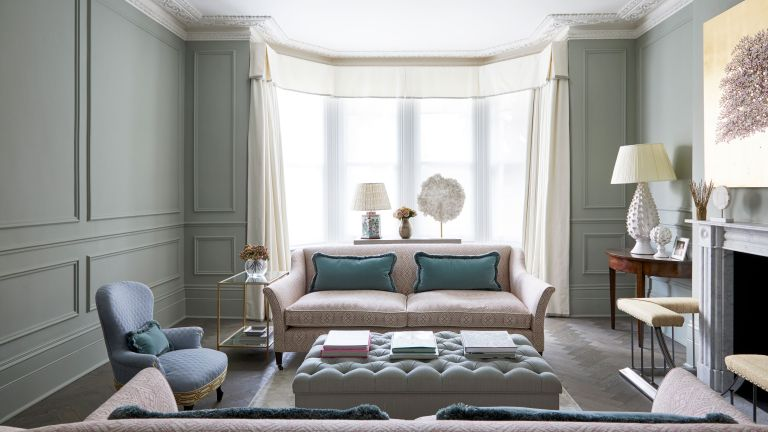 living room with muted color palette in elegant period house in London