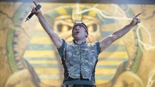 Bruce Dickinson of Iron Maiden performing live at the Sziget Music Festival, Budapest, Hungary on August 12 2008