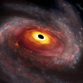 An artist's depiction of a quasar and its surrounding galaxy as seen with optical light.
