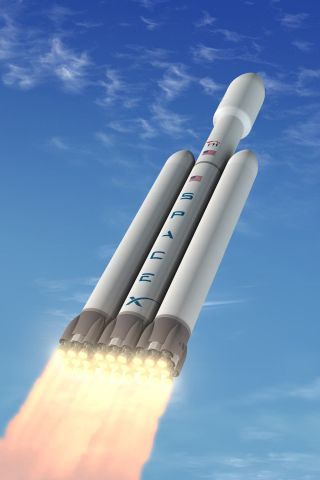 Illustration of SpaceX's Falcon Heavy rocket, which the company says will be the most capable rocket operating today.