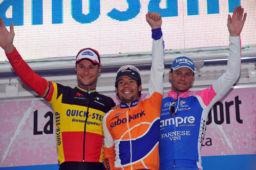 Boonen, Freire, Petacchi on the podium, Milan-San Remo 2010
